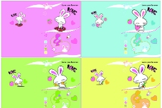 爱心兔卡通本本图片