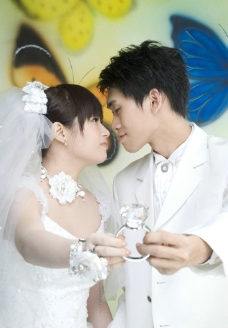 白色婚纱照图片