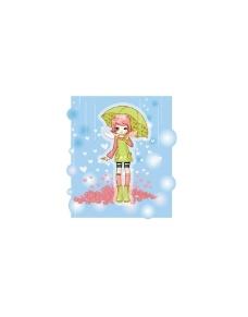 雨中女孩卡通图片