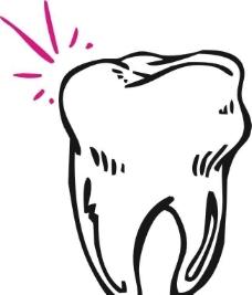 矢量線描牙齒圖片