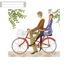 一对恋人幸福的自行车约会矢量图片
