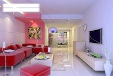 现代 家装 客厅 3d max模型图片