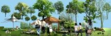 园林景观花草树林鸟瞰透视效果图PSD分层11图片