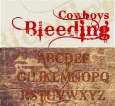 Bleeding Cowboys手绘设计字体