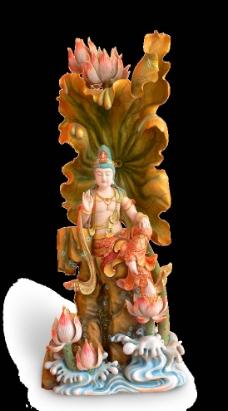 木雕自在观音图片