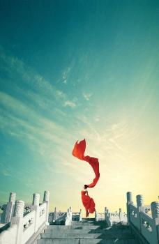 中国元素之地坛红色飘带之舞