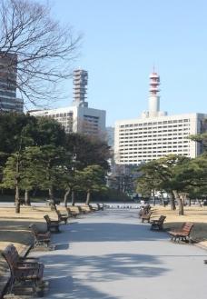 日本皇宫前公园一角图片