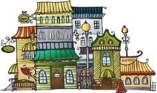 矢量卡通建筑插画