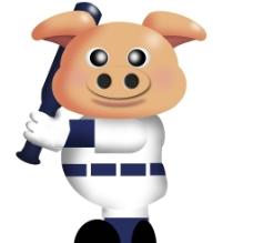 卡通猪打棒球图片