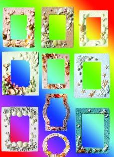 貝殼藝術相框圖片