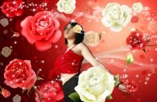 美女和玫瑰