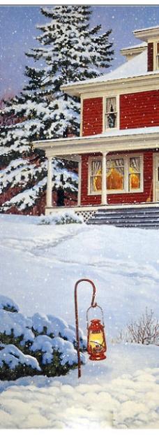 树立在雪地的马灯