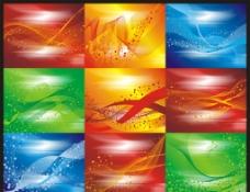 創意波浪線條光芒背景矢量素材圖片