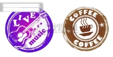 复古咖啡和音乐主题圆形图案矢量素材