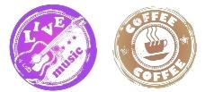 复古咖啡和音乐主题圆形图案矢量素材图片