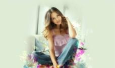 美女鲜花艺术图片