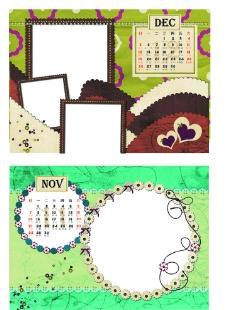 2010年11月12月相册日历模板图片
