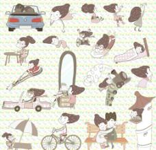 卡通 线条 女孩图片